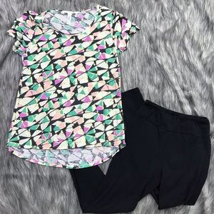 LuLaRoe Top & Black Leggings Set XS One Size